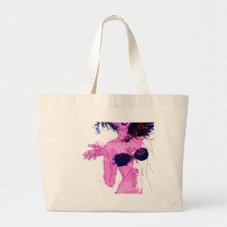 Watercolor bikini girl jumbo tote bag