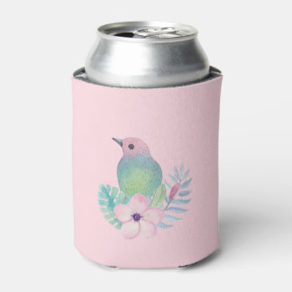 Watercolor Bird and Flower Can Cooler