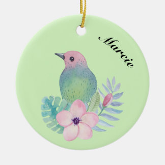 Watercolor Bird and Flower Ceramic Ornament