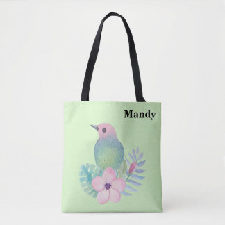 Watercolor Bird and Flower Tote Bag