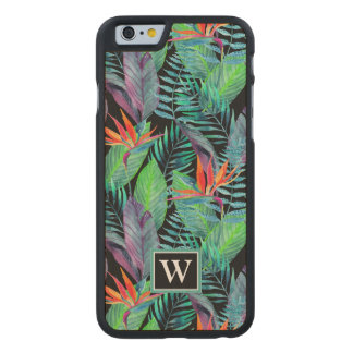 Watercolor Bird Of Paradise | Add Your Initial Carved® Maple iPhone 6 Case