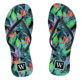 Watercolor Bird Of Paradise | Add Your Initial Flip Flops