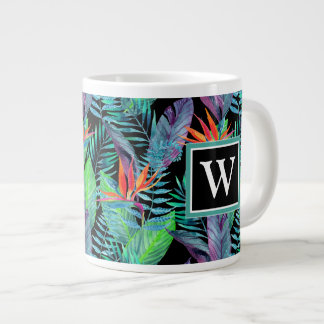 Watercolor Bird Of Paradise | Add Your Initial Giant Coffee Mug