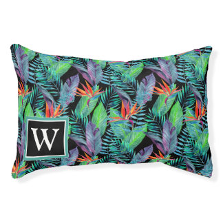 Watercolor Bird Of Paradise | Add Your Initial Small Dog Bed