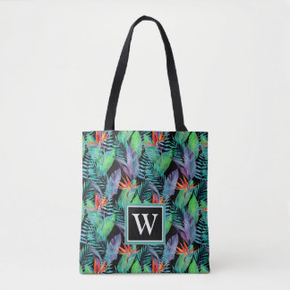 Watercolor Bird Of Paradise | Add Your Initial Tote Bag