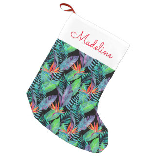 Watercolor Bird Of Paradise   Add Your Name Small Christmas Stocking