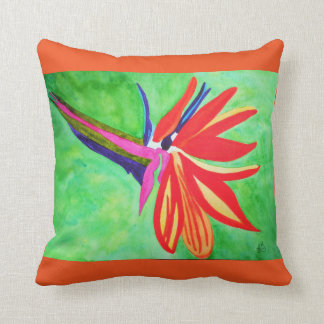 Watercolor bird of paradise flower throw pillow