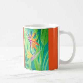 Watercolor Bird of Paradise Flowers Coffee Mug