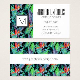 Watercolor Bird Of Paradise | Monogram Business Card