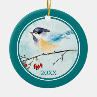 Watercolor Bird on A Winter Berry Sprig Ceramic Ornament