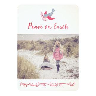 Watercolor Bird Peace Christmas Photo Card