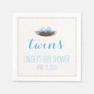 Watercolor Bird's Nest | Twis Baby Boys Shower Disposable Napkin