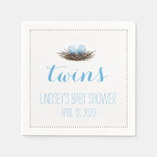 Watercolor Bird's Nest | Twis Baby Boys Shower Disposable Napkin
