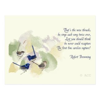 Watercolor Birds Robert Browning Poem Postcard