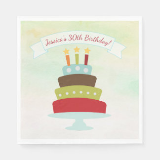 Watercolor Birthday Cake Birthday Party Paper Napkins