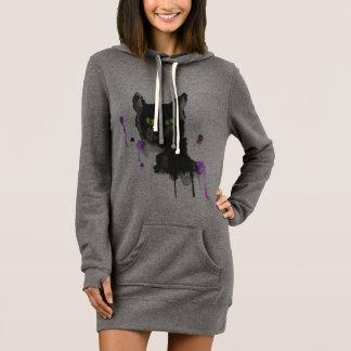 Watercolor Black Cat - Sweatshirt Dress