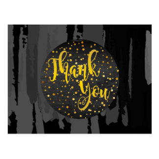 Watercolor Black Gold Thank You  Abstract Postcard