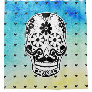 Watercolor Black & White Sugar Skull Micro Heart