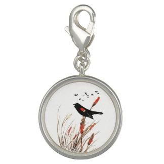 Watercolor Blackbird on Cattails Wetland Bird Art Charm