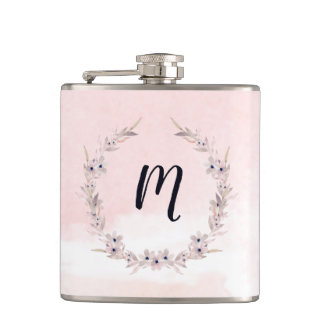 Watercolor Bliss   Blush Pink Floral with Monogram Hip Flask