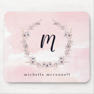 Watercolor Bliss | Blush Pink Floral with Monogram Mouse Pad