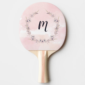 Watercolor Bliss | Blush Pink Floral with Monogram Ping Pong Paddle