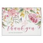 Watercolor Bloom Pink | Gold Floral Thank You Card