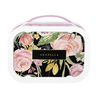 Watercolor Blooms | Pink and Gold Floral on Black Lunch Boxes