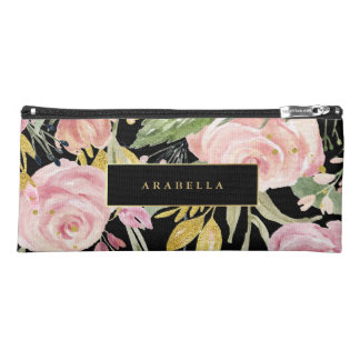 Watercolor Blooms | Pink and Gold Floral on Black Pencil Case