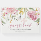 Watercolor Blooms | Pink and Gold Floral Party Guest Book