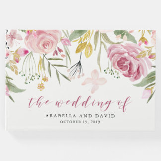 Watercolor Blooms | Pink and Gold Floral Wedding Guest Book