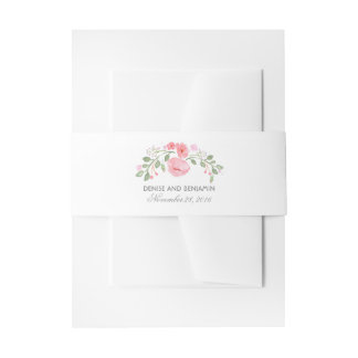 Watercolor Blossoms Elegant Floral Invitation Belly Band