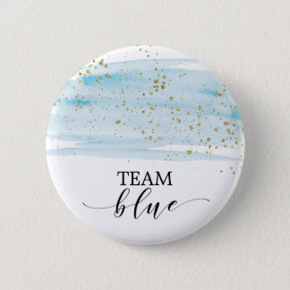 Watercolor Blue and Gold Sparkle Team Blue 2 Inch Round Button
