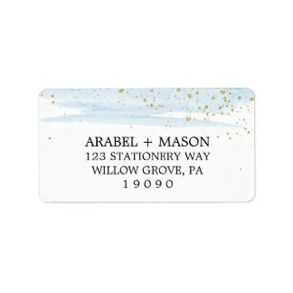 Watercolor Blue and Gold Sparkle Wedding Label