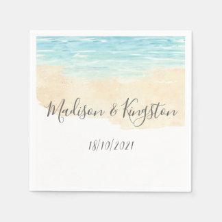 Watercolor Blue Beach Wedding Reception Party Paper Napkin