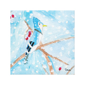Watercolor Blue Bird Canvas Wall Art Print