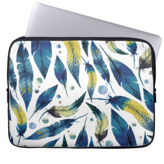 Watercolor blue bird feathers pattern laptop sleeve