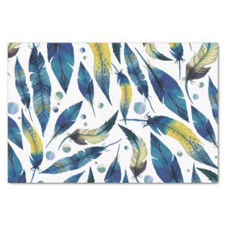 Watercolor blue bird feathers pattern tissue paper