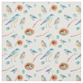 Watercolor Blue birds Chicks Nest Fabric