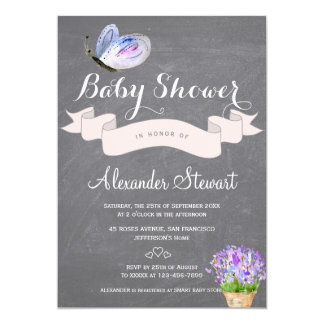 Watercolor blue butterfly floral baby shower card