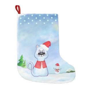 watercolor Blue cat Santa Claus, Christmas winter Small Christmas Stocking