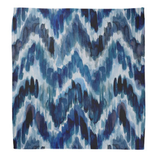 Watercolor Blue Chevron Ikat Bandana