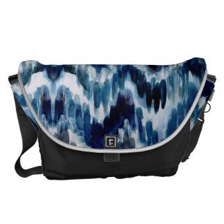 Watercolor Blue Chevron Ikat Courier Bag