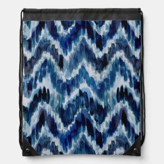 Watercolor Blue Chevron Ikat Drawstring Bag