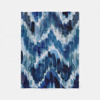 Watercolor Blue Chevron Ikat Fleece Blanket
