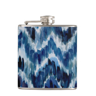 Watercolor Blue Chevron Ikat Hip Flask