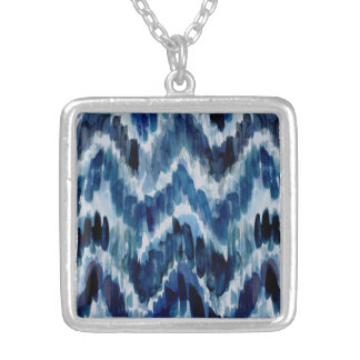Watercolor Blue Chevron Ikat Silver Plated Necklace