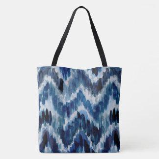 Watercolor Blue Chevron Ikat Tote Bag