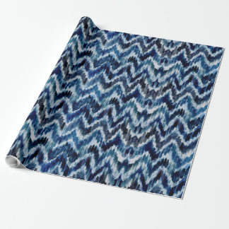 Watercolor Blue Chevron Ikat Wrapping Paper