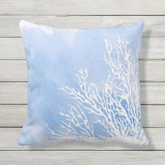 Watercolor blue coral reef modern beach summer outdoor pillow